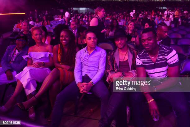 Spike Lee Tonya Lewis Lee DeWanda Wise Anthony Ramos Cleo Anthony and Lyriq Bent watch the first clip of 'Shes Gotta Have It' during 2017 Essence...