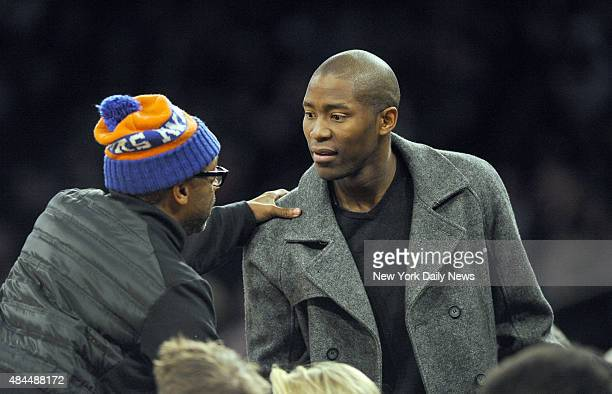 Spike Lee with Clippers Jamal Crawford 1st quarter New York Knicks vs Boston Celtics at Madison Square Garden Manhattan NY February 3 2015