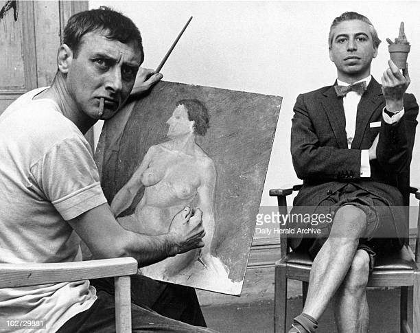 Spike Milligan painting Daily Herald reporter David Nathan 1960 Spike Milligan painting Daily Herald reporter David Nathan 22 April 1960 'Spike...