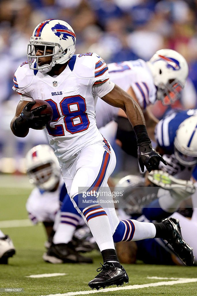 C.J. Spiller #28 of the Buffalo Bills carries the ball against the Indianapolis Colts at Lucas Oil Stadium on November 25, 2012 in Indianapolis, Indiana.