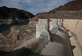 A spillway at the Hoover Dam stands dry on May 12 2015 in Lake Mead National Recreation Area Arizona As severe drought grips parts of the Western...