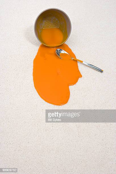 spilt bowl of soup