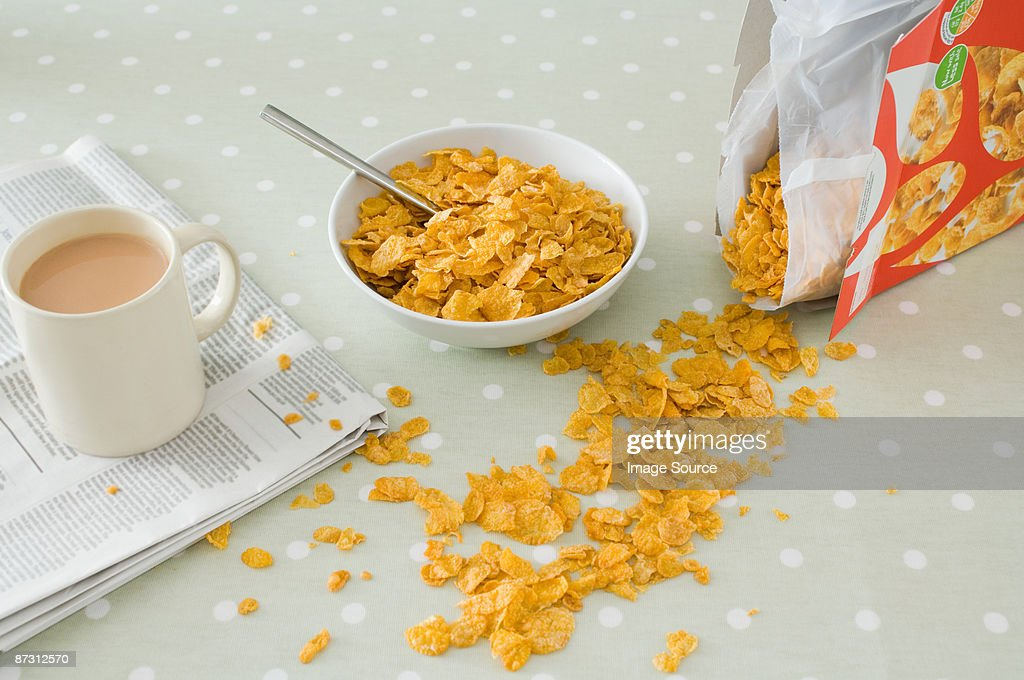Spilt breakfast cereal