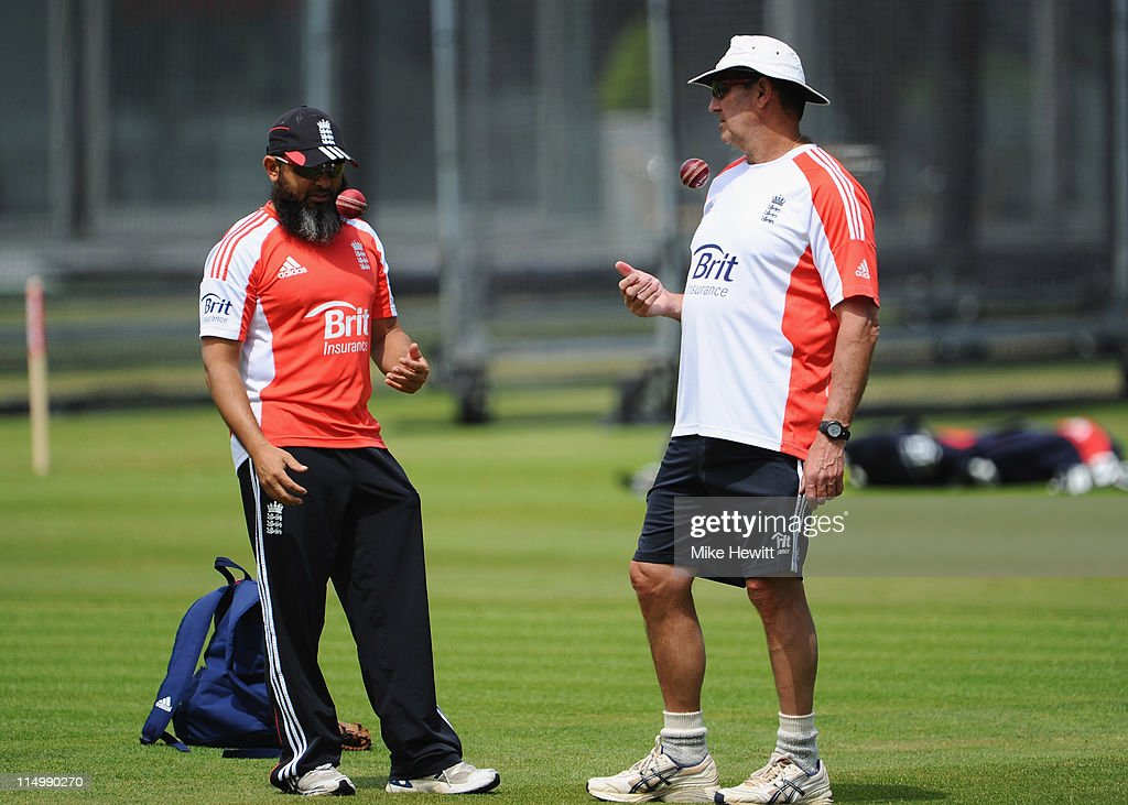Spin bowling coach Mushtaq Ahmed and batting coach Graham Gooch in discussion during an England Nets Session at Lord's Cricket Ground on June 1 2011...