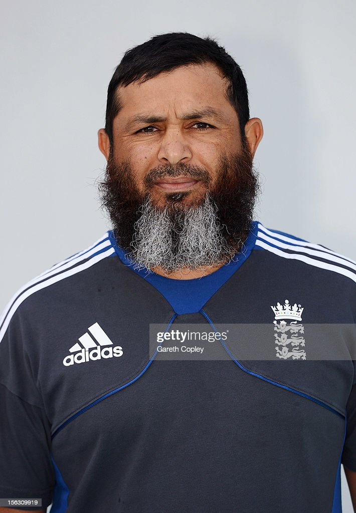 ECB spin bowling coach Mushtaq Ahmed poses for a portrait on November 13 2012 in Ahmedabad India