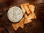 Spinach Dip with Baked Pita Chips  -Photographed on Hasselblad H3D2-39mb Camera