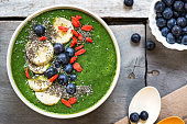 Green smoothie made of Spinach,Banana,Mango in a bowl with Blueberry,Banana,Goji berry and Chia seeds topping