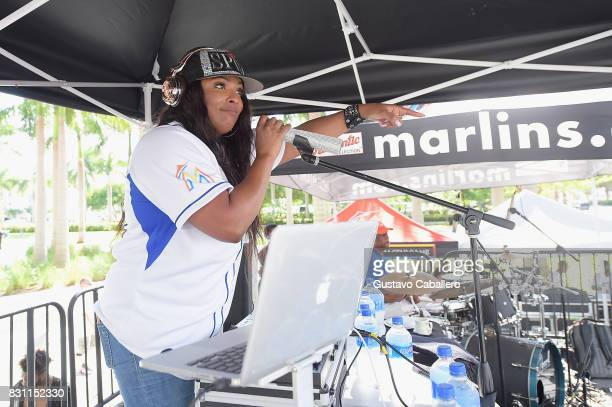 Spinderella Performs live At The Crystal Pepsi Throwback Tour At Marlin's Park on August 13 2017 in Miami Florida