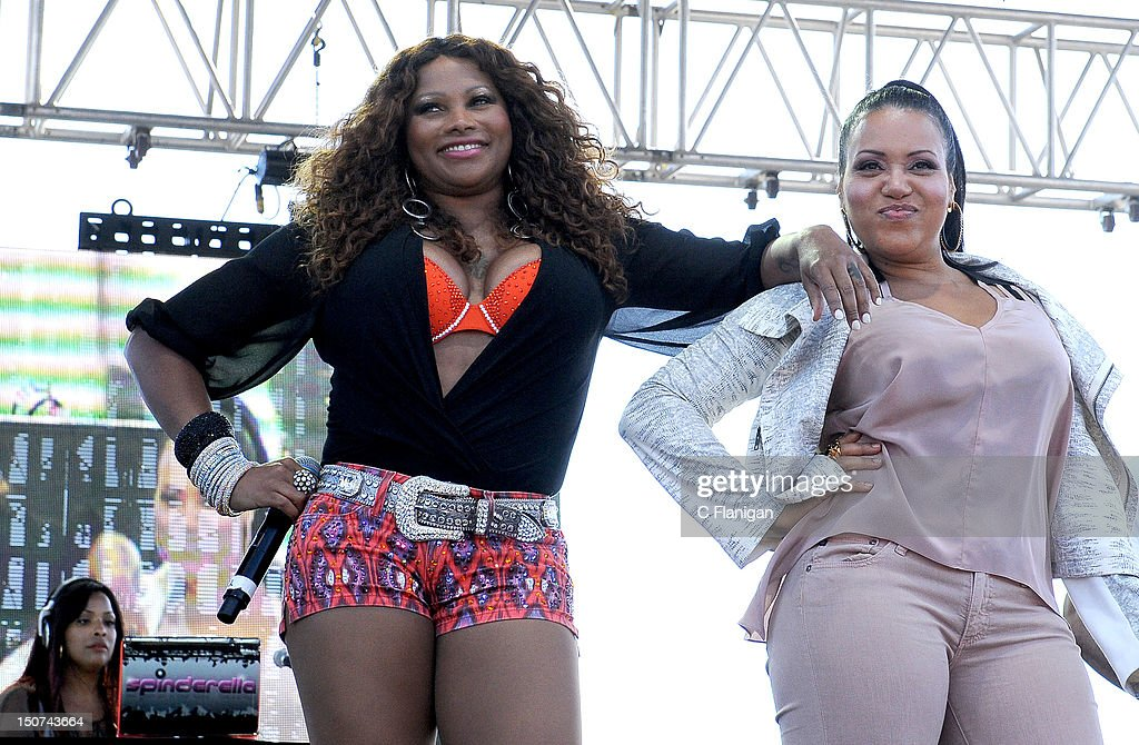 DJ <a gi-track='captionPersonalityLinkClicked' href=/galleries/search?phrase=Spinderella&family=editorial&specificpeople=984708 ng-click='$event.stopPropagation()'>Spinderella</a>, rapper Sandra 'Pepa' Denton and rapper Cheryl R. 'Salt' James of Salt-N-Pepa perform during the 2012 Boost Mobile & Guerilla Union Rock the Bells Music Festival powered by Blackberry at Shoreline Amphitheatre on August 25, 2012 in Mountain View, California.