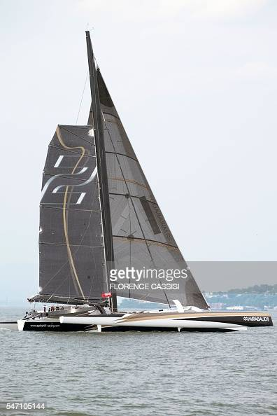 Spindrift 2 competes in the Transat Quebec SaintMalo race on the St Lawrence River in Quebec Cityon July 13 2016  Every four years the Transat...