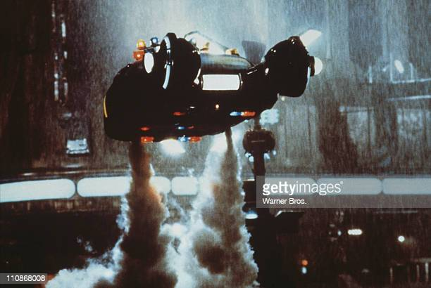 A 'Spinner' flying car takes off in a scene from Ridley Scott's futuristic thriller 'Blade Runner' 1982