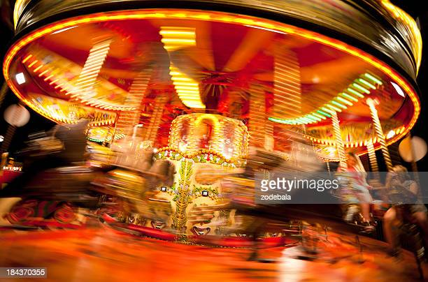 Spinning Carousel at Night