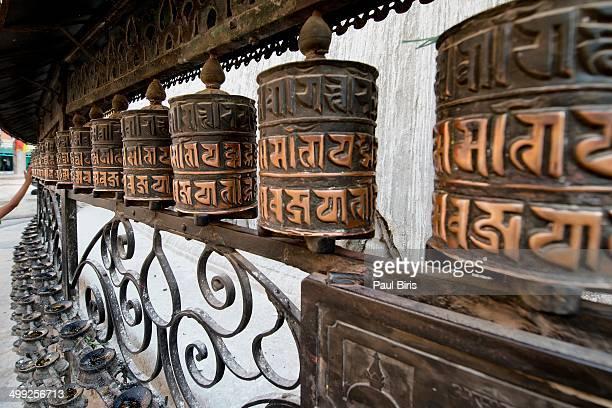 Spinning the prayer wheels Swayambhunath Temple