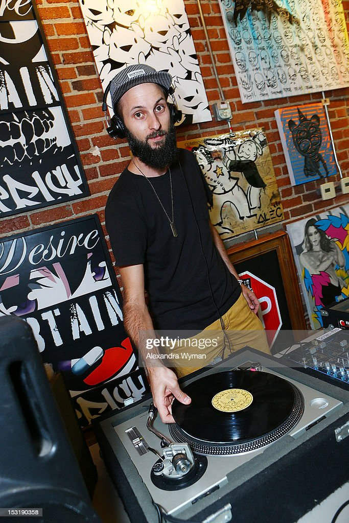 DJ spins at 'American Rag And Lab ART Present 'Keep Breast,'' an Americana themed art exhibition for Breast Cancer Prevention Month at LAB ART on September 29, 2012 in Los Angeles, California.