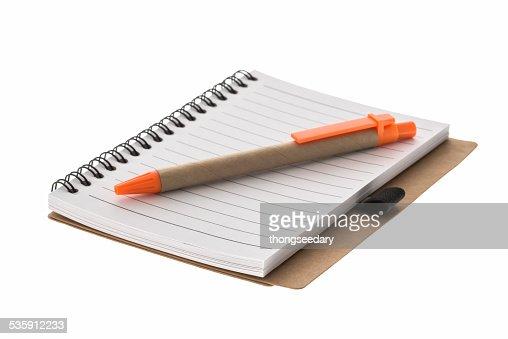 Espiral libro y lápiz : Foto de stock