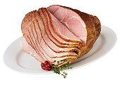 Spiral ham on platter