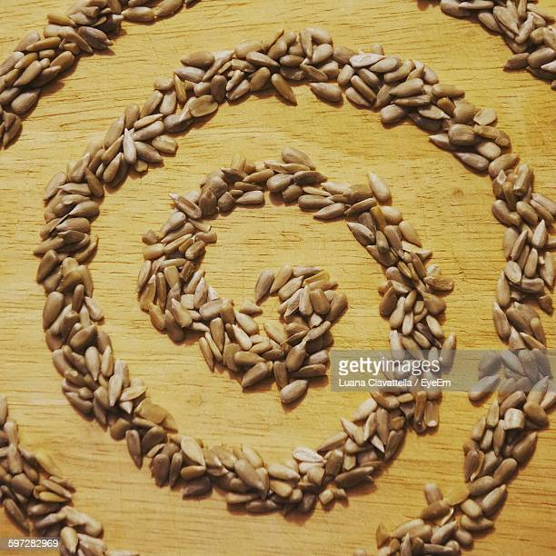 Spiral Made Of Sunflower Seeds On Table