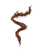 Spiral splash of chocolate isolated on white background with clipping path. 3d illustration.