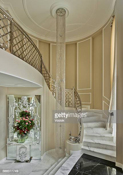 spiral staircase in the luxury mansion