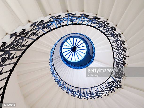 Spiral staircase in white and blue