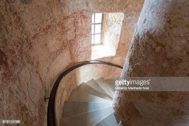 A spiral staircase leads to the lighthouse in the fortress tower at El Morro in Havana