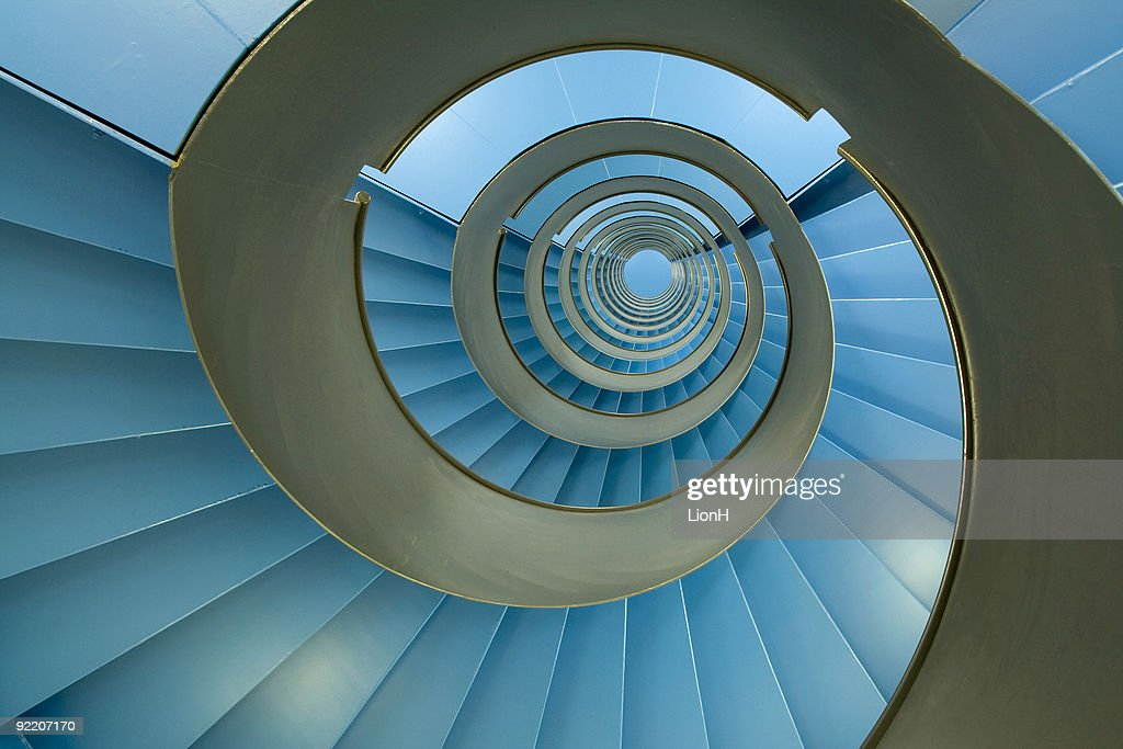Spiral staircase with endless blue facets