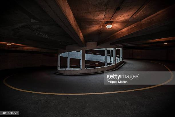 Spiral thruway in a concrete parking garage