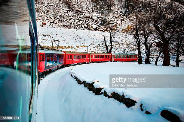 Spiraling Viaduct Of Brusio Bernina Express Switzerland