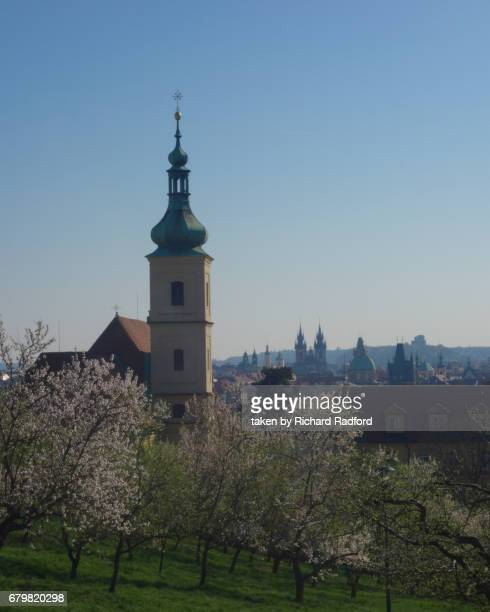 Spire of Church of the Infant Jesus in Prague, Czech Republic