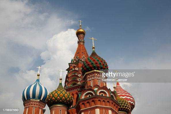 Spires of St Basil's Cathedral are seein in Red Square ahead of the IAAF World Championships on August 6 2013 in Moscow Russia