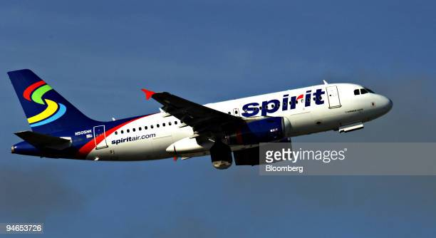 Spirit Airlines Airbus A319 painted with the airline's new logo takes off from Fort Lauderdale/Hollywood Florida US on Thursday Nov 29 2007 Spirit...
