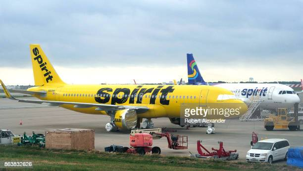 Spirit Airlines Airbus A320 passenger jet without engines sits on the apron at the Dallas/Fort Worth International Airport in Texas The plane was...