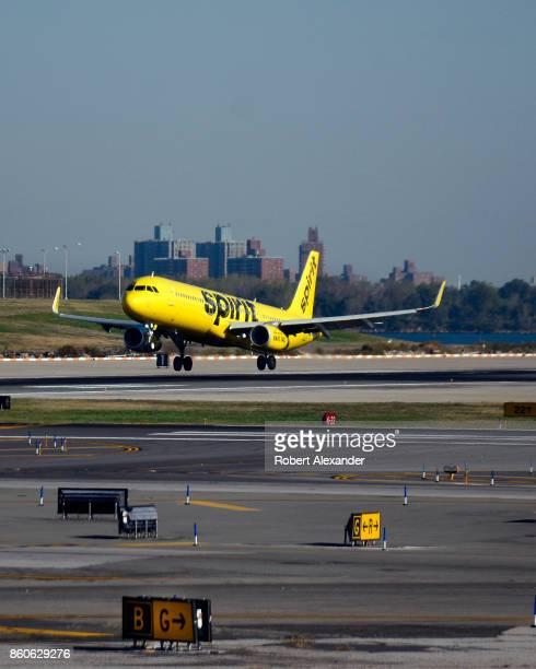 Spirit Airlines passenger jet lands at LaGuardia Airport in New York New York