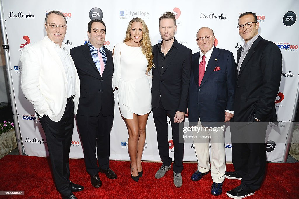 Spirit Music Group Chairman David Renzer, Universal Music Publishing Group North America President Evan Lamberg, singer/songwriter <a gi-track='captionPersonalityLinkClicked' href=/galleries/search?phrase=Colbie+Caillat&family=editorial&specificpeople=4410812 ng-click='$event.stopPropagation()'>Colbie Caillat</a>, composer <a gi-track='captionPersonalityLinkClicked' href=/galleries/search?phrase=Brian+Tyler&family=editorial&specificpeople=593869 ng-click='$event.stopPropagation()'>Brian Tyler</a>, producer <a gi-track='captionPersonalityLinkClicked' href=/galleries/search?phrase=Clive+Davis&family=editorial&specificpeople=209314 ng-click='$event.stopPropagation()'>Clive Davis</a>, and music executive <a gi-track='captionPersonalityLinkClicked' href=/galleries/search?phrase=Doug+Davis&family=editorial&specificpeople=211598 ng-click='$event.stopPropagation()'>Doug Davis</a> arrive at City of Hope's 10th Anniversary 'Songs Of Hope' on June 4, 2014 in Brentwood, California.