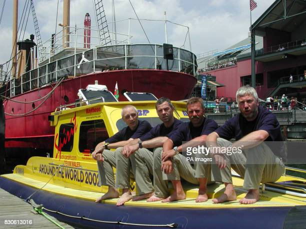 Spirit of Cardiff crew Clive Tully Jan Falkowski Steve Lloyd and skiiper Alan Priddy get set to leave New York in their attempt to set a series of...