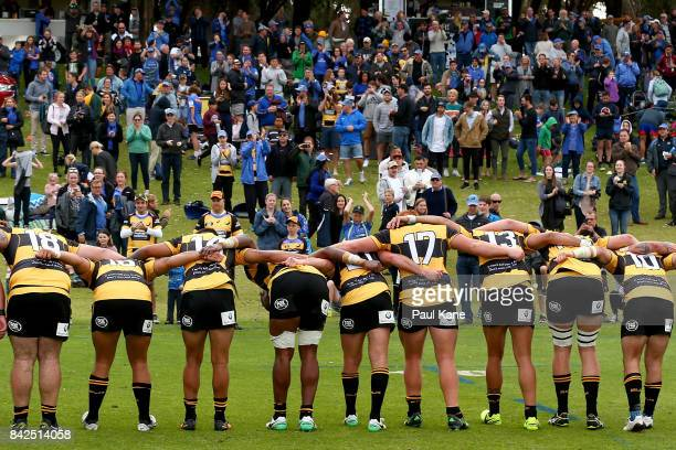 Spirit players bow to the spectators after winning the round one NRC match between Perth Spirit and Melbourne Rising at McGillivray Oval on September...