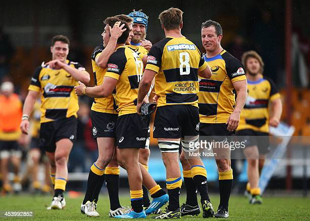 Spirit players celebrate winning during the round one National Rugby Championship match between the Canberra Vikings and Perth Spirit at Viking Park...