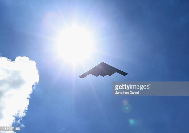 Spirit stealth bomber makes a flyover at Soldier Field before the Green Bay Packers take on the Chicago Bears on September 13 2015 in Chicago...