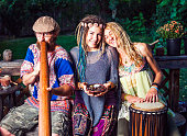 Spiritual Friendship Beautiful People. Woman in center is holding a bowl of cacao beans.