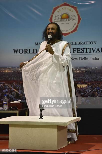 Spiritual Guru Sri Sri Ravi Shankar addressing a press conference during the World Culture Festival organised by the Art of Living Foundation headed...