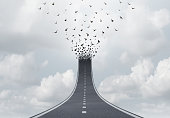 Spiritual journey as a highway to heaven faith concept or spirituality salvation freedom symbol as a road transforming into flying birds with 3D illustration elements.