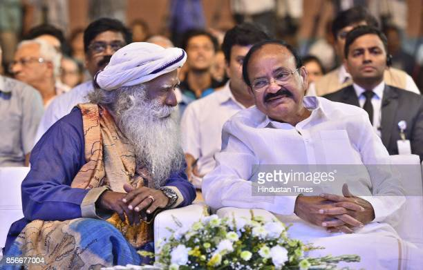 Spiritual leader Sadhguru Jaggi Vasudev with Venkaiah Naidu Vice President of India during the 'Rally for Rivers' campaign started by Isha Foundation...