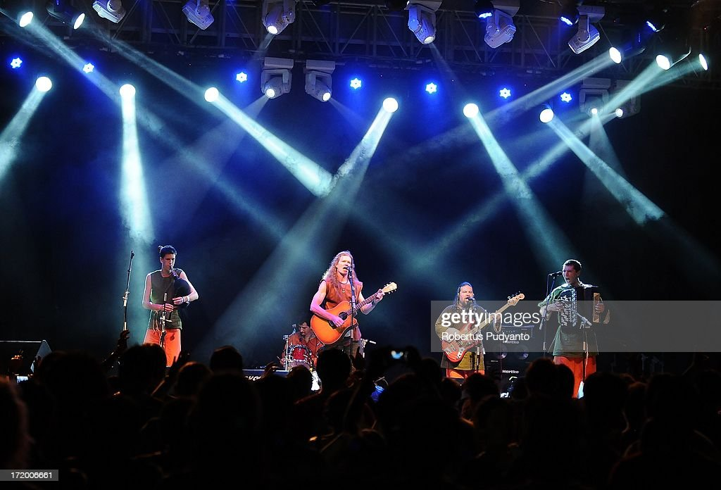 Spiritual Seasons band (Kharkov, Ukraine) featuring Medieval, Irish, and Scandinavian folk song in Rainforest World Music Festival at Sarawak Cultural Village on June 30, 2013 in Kuching, Sarawak, Malaysia.
