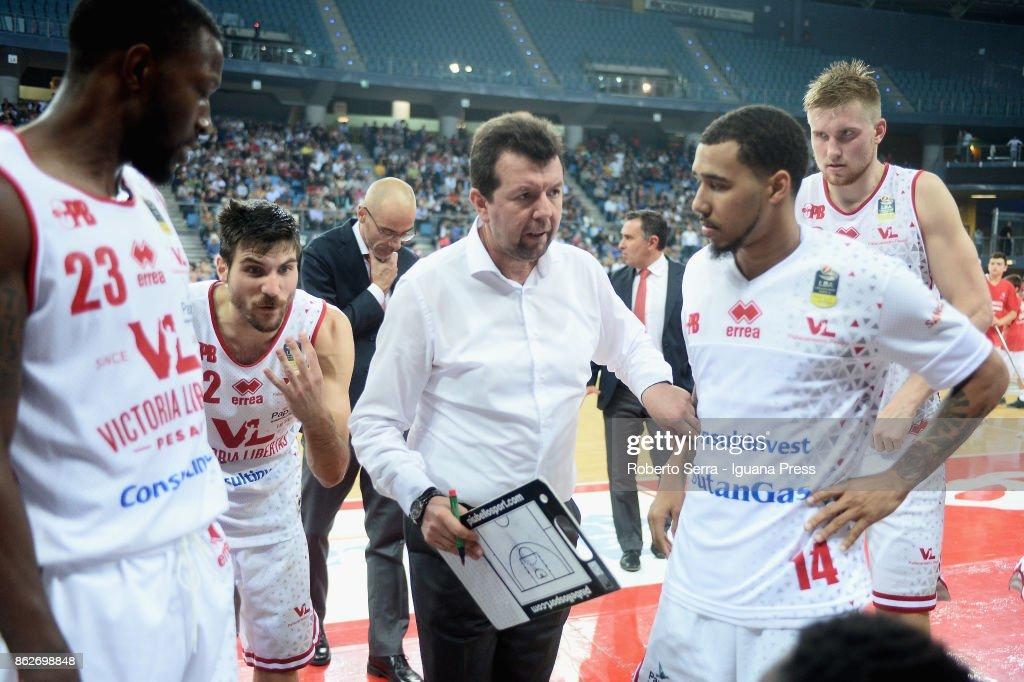 Spiro Leka head coach of VL talks over during the LBA LegaBasket match between VL Victoria Libertas Pesaro and Virtus Segafredo Bologna at Adriatic Arena on October 14, 2017 in Pesaro, Italy.