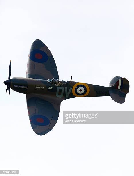 Spitfire flies over to celebrate 350 years of racing at Newmarket racecourse on April 30 2016 in Newmarket England