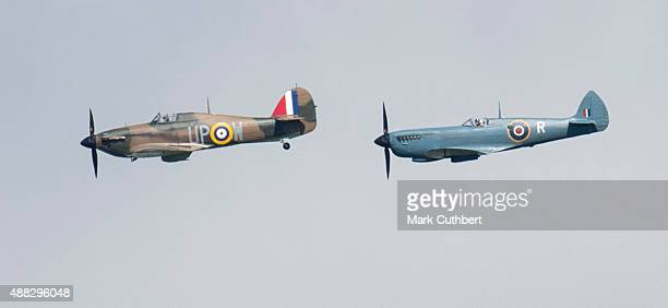 Spitfires and Hurricanes in formation for the 75th Anniversary of the Battle of Britain flypast at Goodwood on September 15 2015 in Chichester England