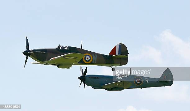 Spitfires and Hurricanes in formation for the 75th Anniversary of the Battle of Britain flypast at Goodwood on September 15 2015 in Chichester...