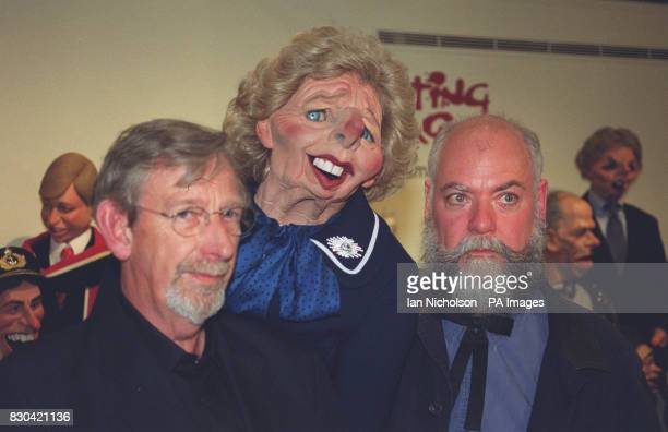 Spitting Image creators Roger Law and Peter Fluck at a celebrity farewell party for the old tv series at Sothebys in London after two hundred puppets...