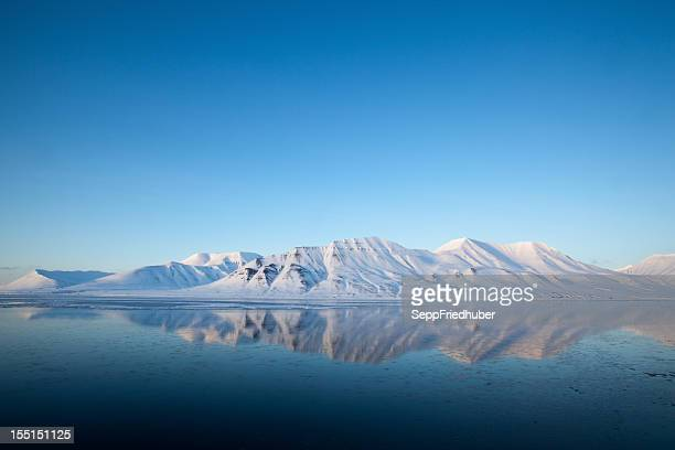 Spitzbergen Mountain reflected on the Isfjord landscape