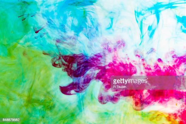 Splash of blue, yellow, green, red ink